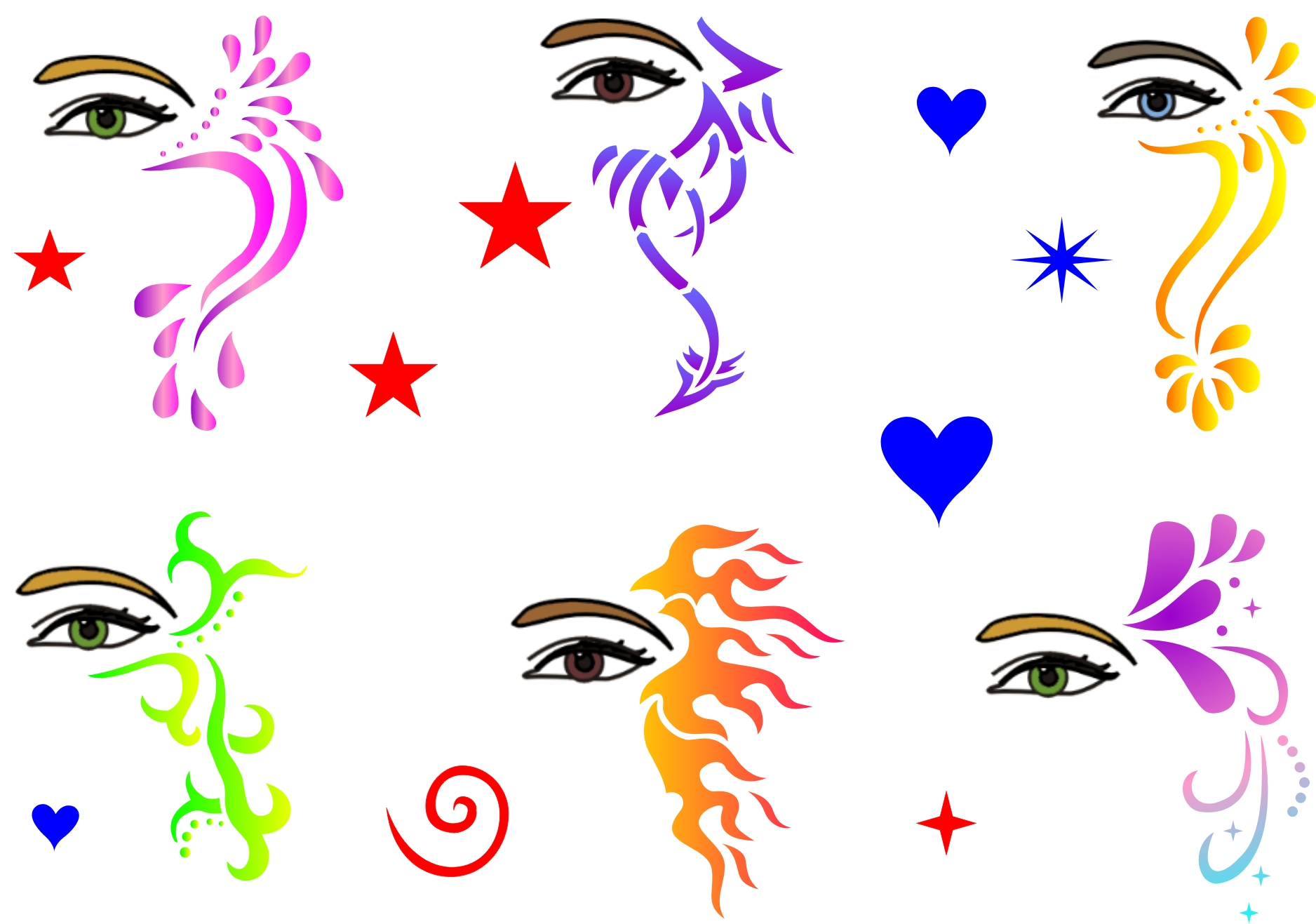 Uncategorized Face Painting Templates trendy tribals inc full face and hair stencils eyes masks crowns