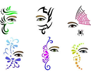 Trendy tribals inc full face and hair stencils all for Pre printed canvas to paint for adults